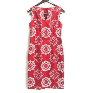 David Meister Medallion Print V-Neck Sheath Dress